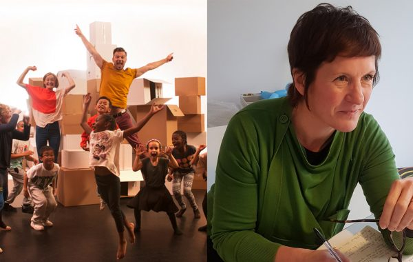 Image of Tom and Anna jumping on left. Image of Claire Summerfield sitting at a desk on the right