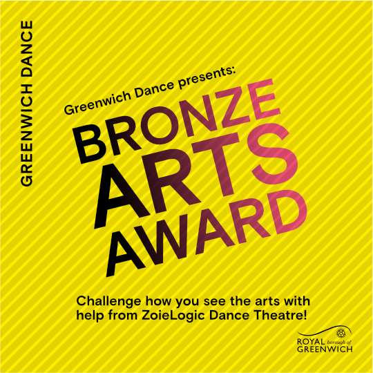 Bronze Arts Award text with yellow background