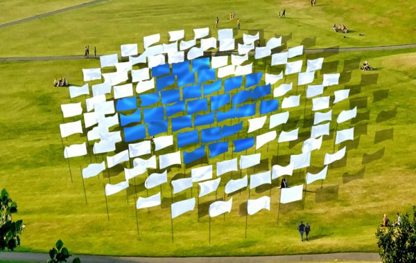 An image of blue and white flags in a field. The blue flags are arranged in a cross shape with the white flags surrounding them.