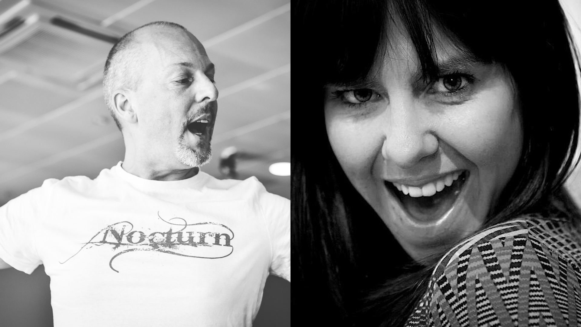 Black and white photos of John Darvell (left) and Sarah Shead (right)