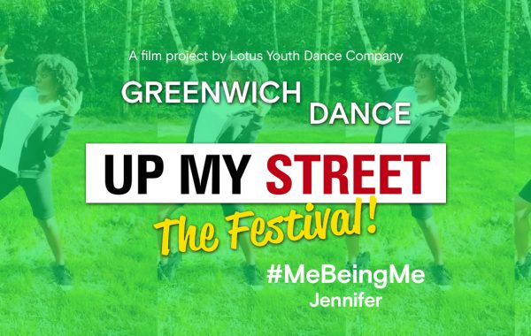 Up My Street The Festival title with faint image of Jennifer behind