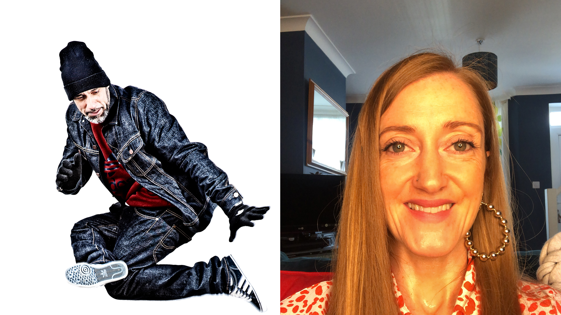 Left image of Pervez in hip hop freeze. Right image of Kate Scanlan's head