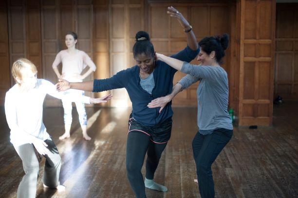 contemporary dancers in a class
