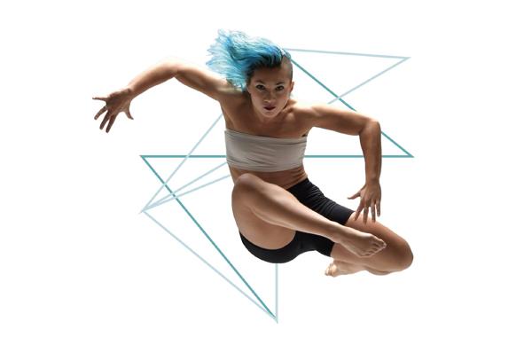 Joss Arnott Dance dancer with blue hair leaping